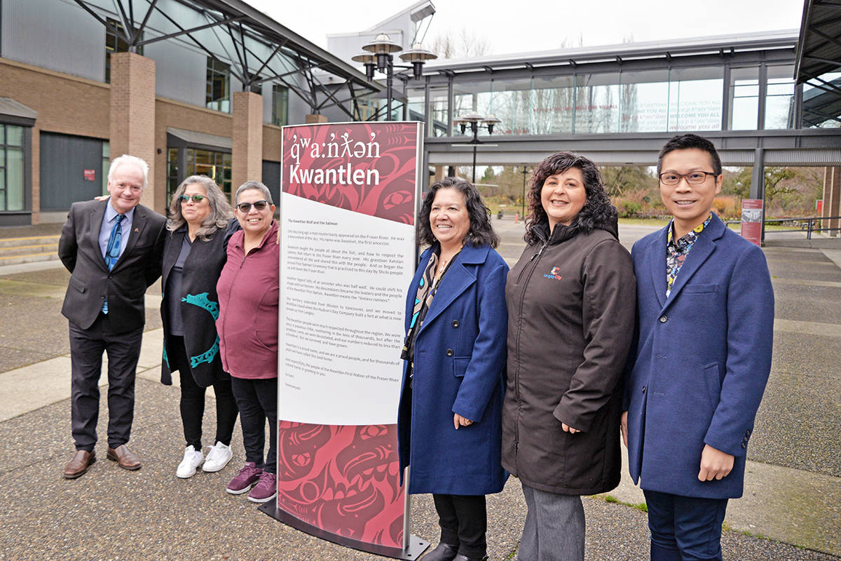 New signage featuring the hən̓q̓əmin̓əm̓ dialect was unveiled at KPU's Langley campus on Monday, Nov.8. (From left) Dr. Alan Davis, Kwantlen Polytechnic University President and Vice-Chancellor, Fern Gabriel, Kwantlen First Nation and Langley School District, Cheryl Gabriel, Kwantlen First Nation, Donna Gabriel, Kwantlen First Nation, Val van den Broek, Mayor of the City of Langley, and Herman Ho, Kwantlen Polytechnic University Interior Designer. (KPU photo)