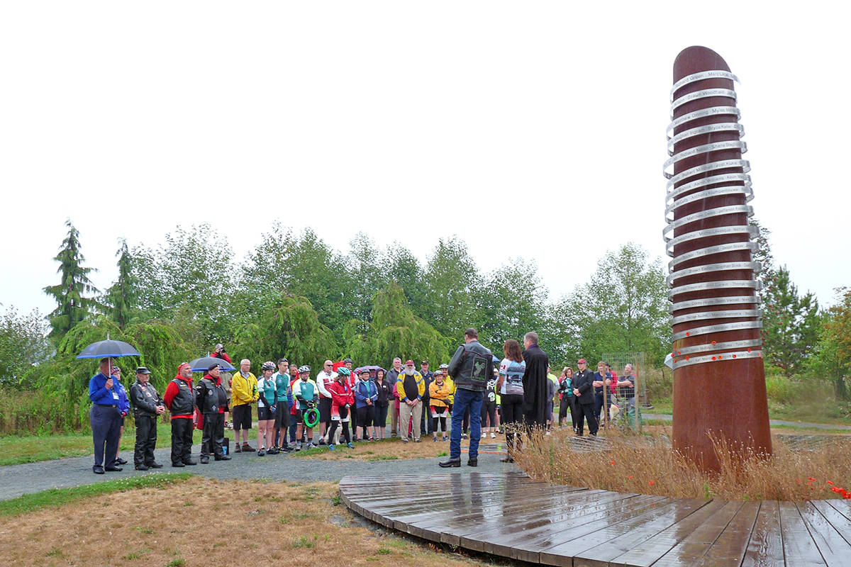 The Derek Doubleday Arboretum includes a memorial to Canadian soldiers killed in the war in Afghanistan. The green space is used by various groups and the public during the year. (Langley Advance Times files)