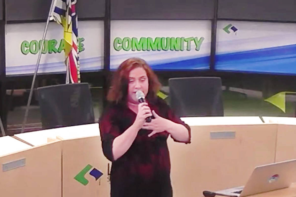 Langley school board chair Megan Dykeman addressed the public at the final community middle school consultation for East Langley on Nov. 12.