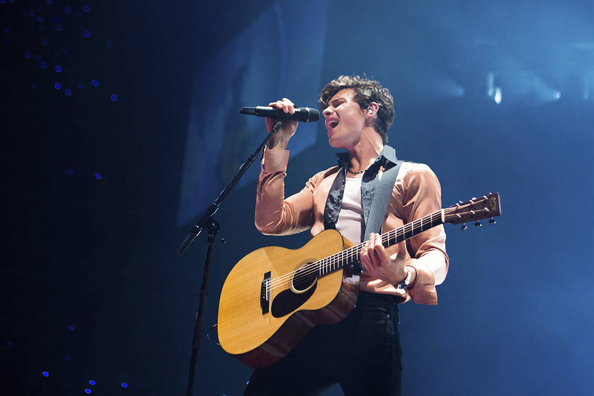 Artist Shawn Mendes performs on tour at Barclays Center on Friday, Aug. 23, 2019, in Brooklyn, New York. Mendes is among the Canadian nominees at this year's Grammy Awards. THE CANADIAN PRESS/Scott Roth/Invision/AP