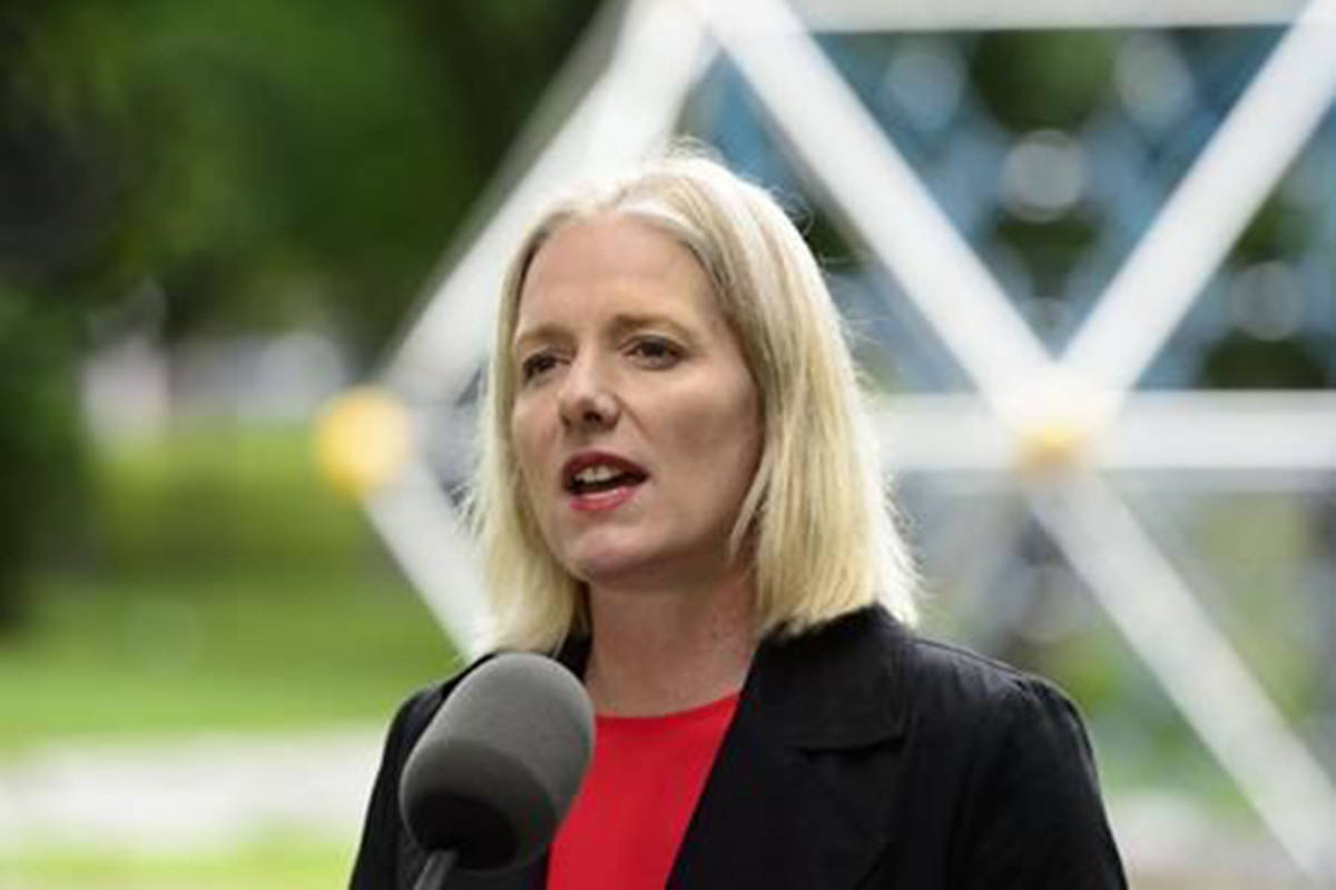 Minister of Environment and Climate Change, Catherine McKenna, makes an announcement on how the federal government will allocate a portion of the proceeds collected as a result of carbon pollution pricing during a press conference in Ottawa on Tuesday, June 25, 2019. A new report says retailers in Canada are lagging behind American companies in removing hazardous chemicals from their products. THE CANADIAN PRESS/Sean Kilpatrick