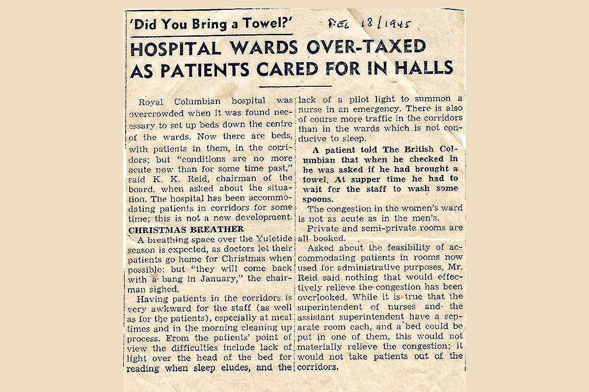 Gerry Larson found this clipping in his mother-inlaw's possessions. The hospital overcrowding problems of 1945 remain today.