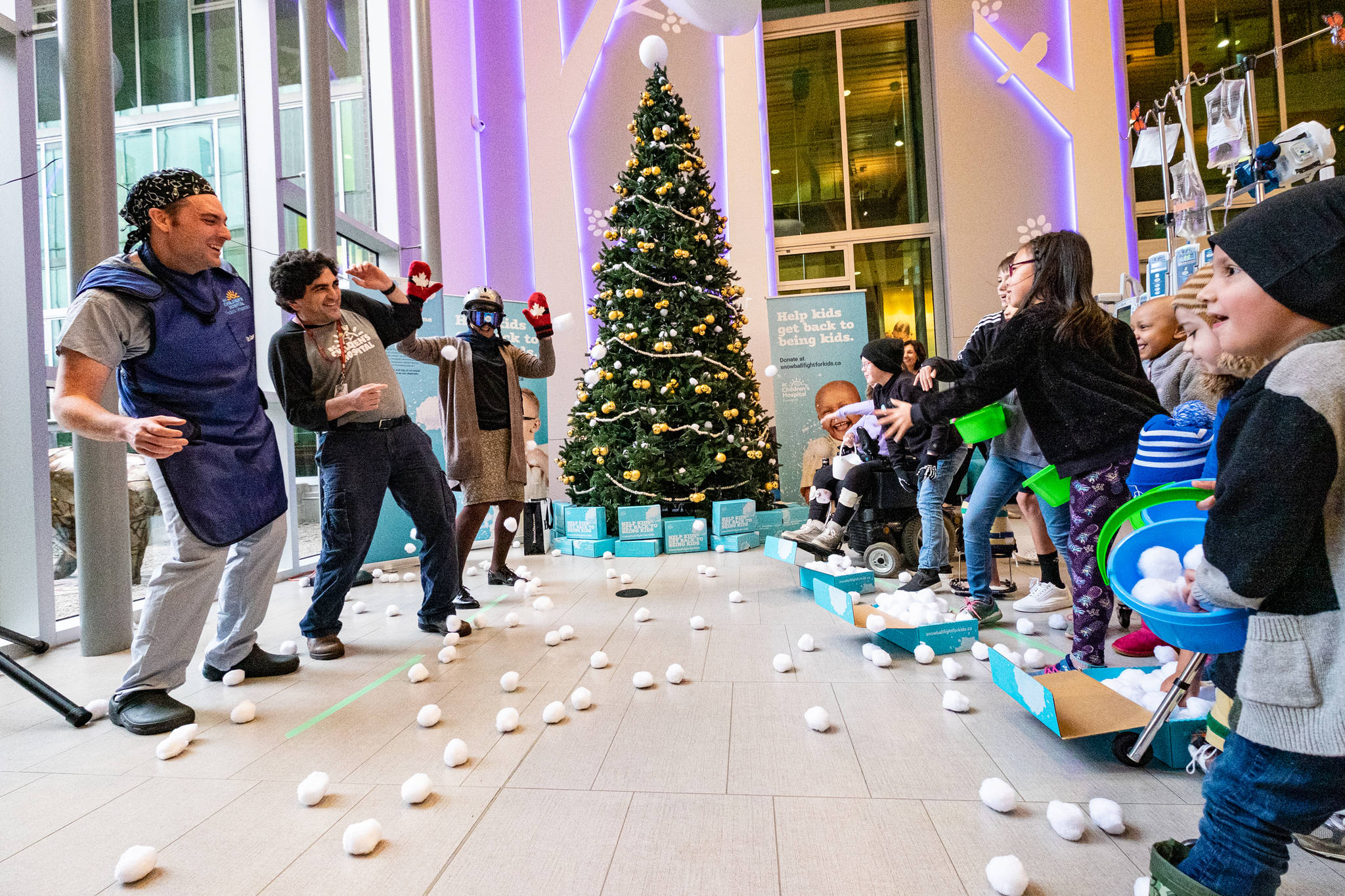 PHOTOS: Patients pelt doctors with snowballs, all for BC Children's Hospital