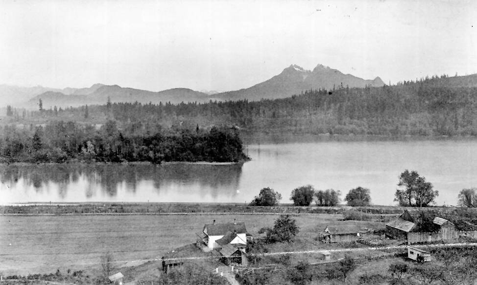 This photo is undated but shows the view from the bluff east of Fort Langley, looking towards McMillan Island and the Fraser River. At the time that was the Barvis farm. (Langley Centennial Museum collection 000019)