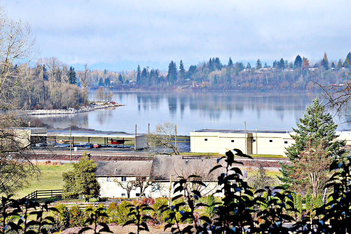 The view of the Fraser River and the eastern side of McMilland Island from Armstrong Road which goes up onto a bluff just off River Road. At the river's edge is the Fort Langley Airport. (Heather Colpitts/Langley Advance Times)