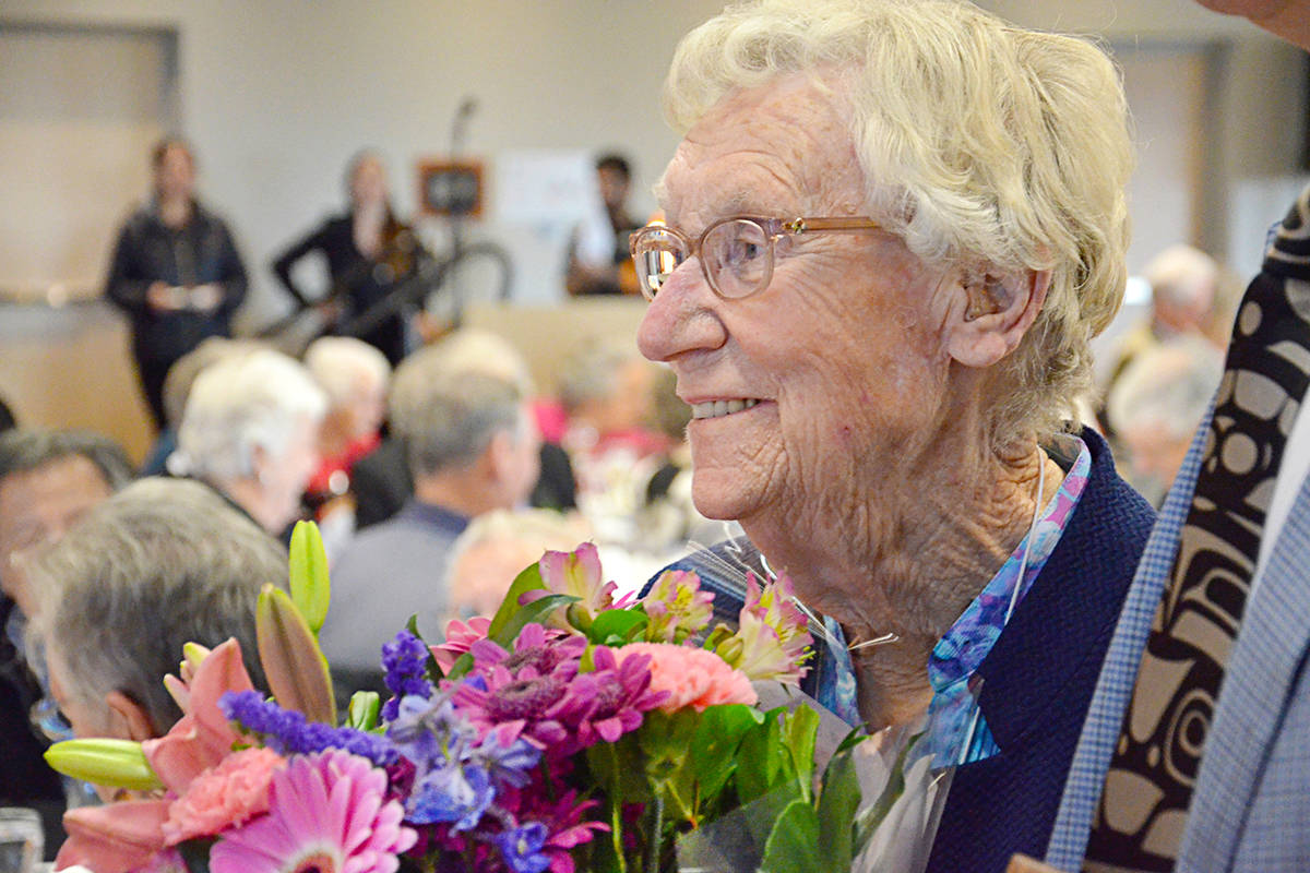 Alice Johnson was made a Freewoman of the Township, a unique honour given to only a handful of other local people. The surprise announcement was made at this year's Douglas Day Pioneer Banquet on Tuesday, Nov. 19. (Heather Colpitts/Langley Advance Times)
