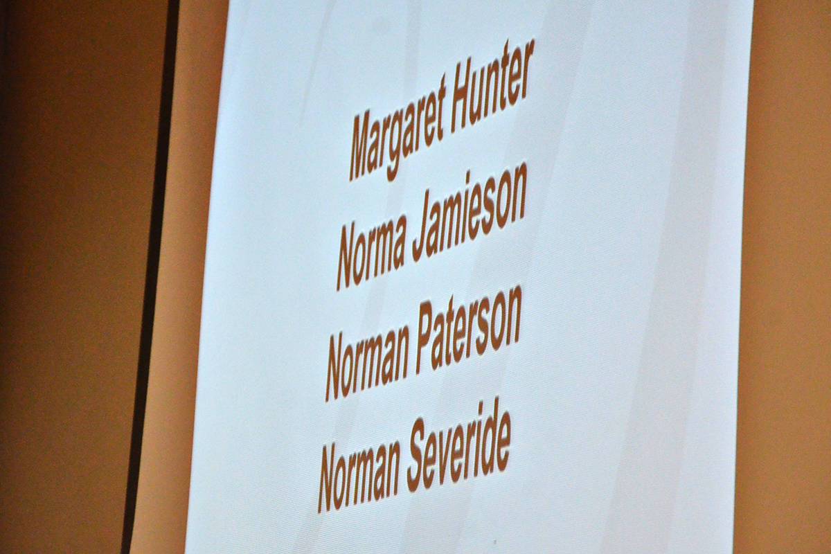 The names of those local pioneers who have passed away inthe past year wre announced at the annual banquet honouring longtime local senior citizens. (Heather Colpitts/Langley Advance Times)