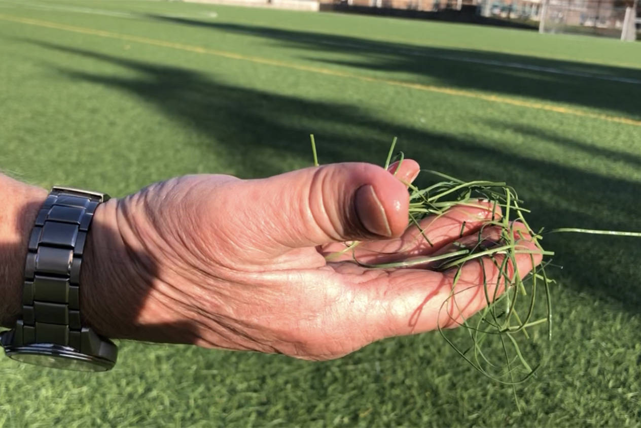 Angus Matthews with a lump of the plastic turf that is quickly spreading from the new Oak Bay High soccer pitch and directly into Bowker Creek. (Travis Paterson/News Staff)