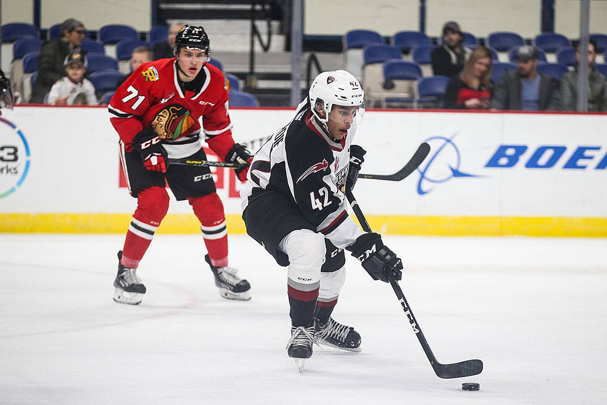 Wednesday night in Portland, the Vancouver Giants fell 3-1 to the Portland Winterhawks. Jake Gricius paced the Winterhawks with two goals while goaltender Joel Hofer made 27 saves in the Portland net. Bowen Byram supplied the Giants with their lone goal in the second period. In the Vancouver net, David Tendeck stopped 18 of Portland's 21 shots.(Matthew Wolfe/Special to Black Press Media)