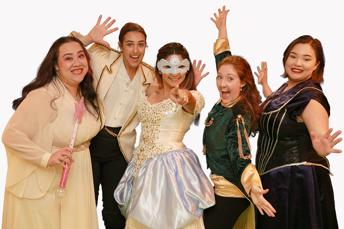 The cast of the Fraser Valley Gilbert and Sullivan's production of Cinderella take the Surrey Arts Centre stage this holiday season. (FVGSS/Special to the Langley Advance Times)