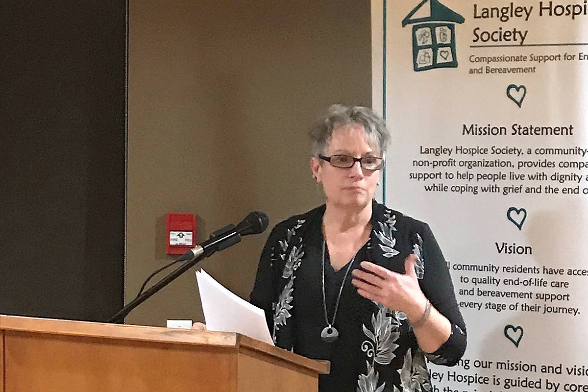 Deborah Solski shared her hospice experience, as she was there earlier this year for the passing of her husband of 37 years, Walter. (Lisa Farquharson/Langley Advance Times)