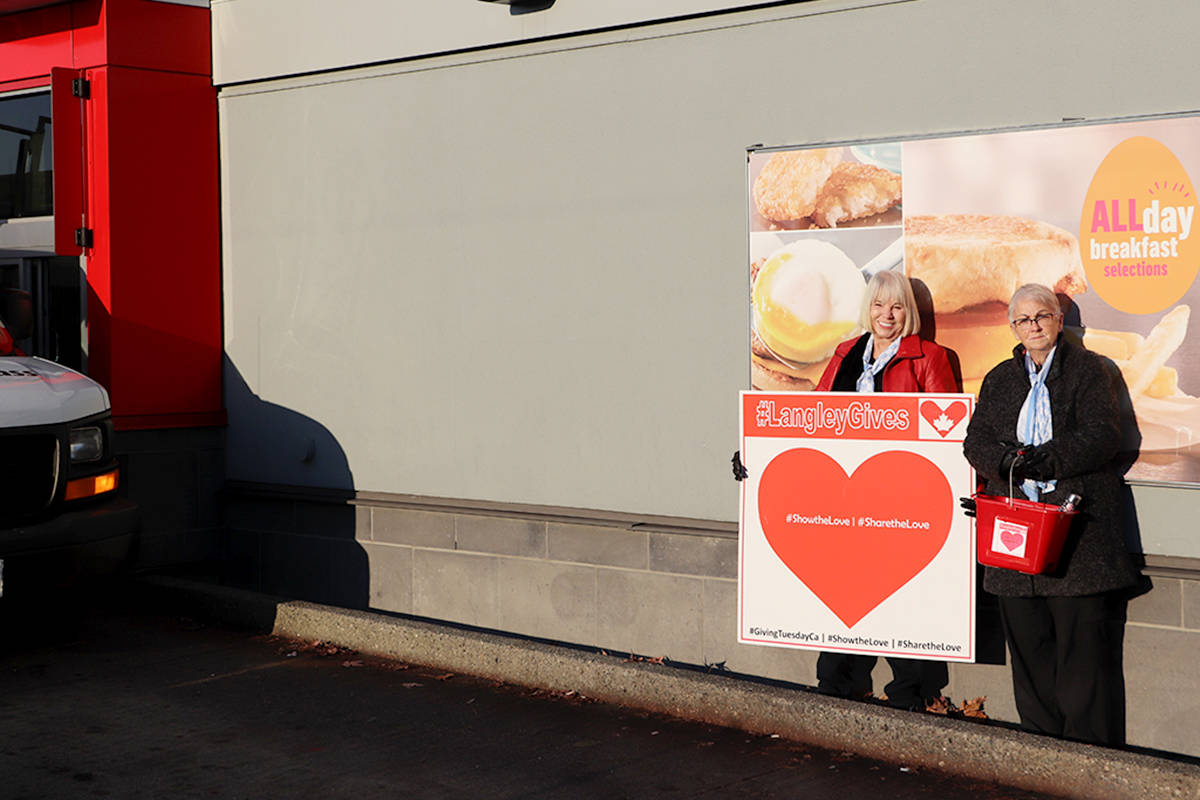 Shirley Ann King (left) and Helene Causton with the Soroptimist of the Langleys stood out in McDonald's drive thru during the cold Friday morning asking for donations to help send a local girl to summer camp as part of Langley Gives. (Joti Grewal/Langley Advance Times)