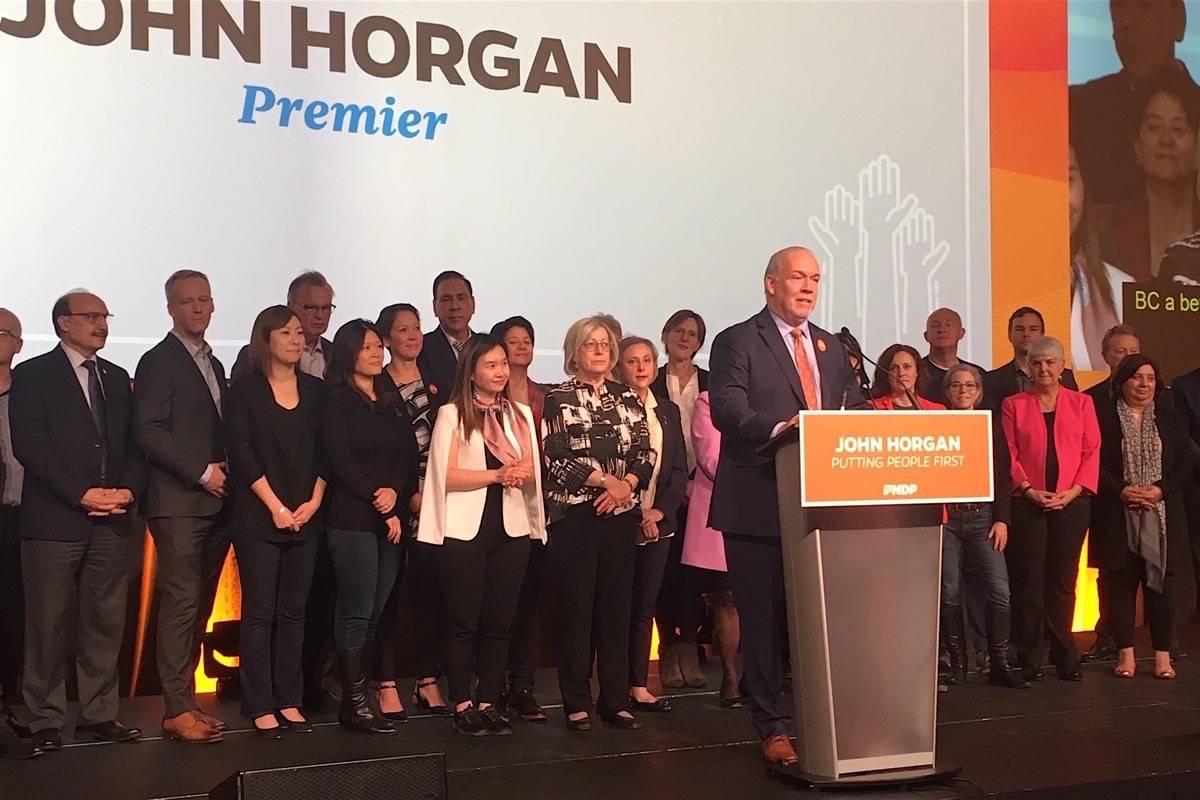 B.C. Premier John Horgan speaks to NDP convention at Victoria conference centre, Nov. 23, 2019. (Tom Fletcher/Black Press)