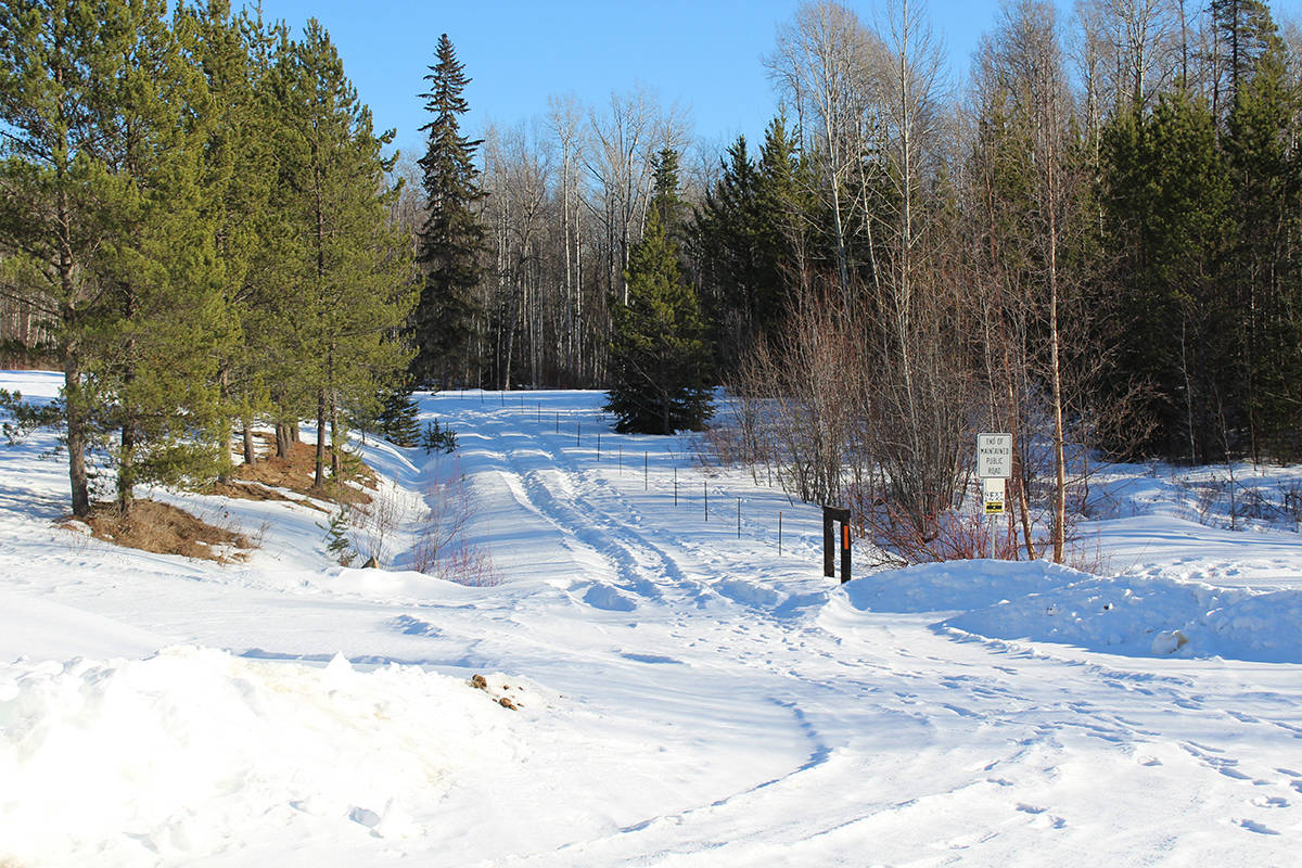 A view of Six Mile Road passing through Ronald Folwer's property near where, on Oct. 14, 2017, Fowler shot his neighbour George Parent. Fowler was found guilty March 15 by a jury at the B.C. Supreme Court in Smithers. (Thom Barker photo)