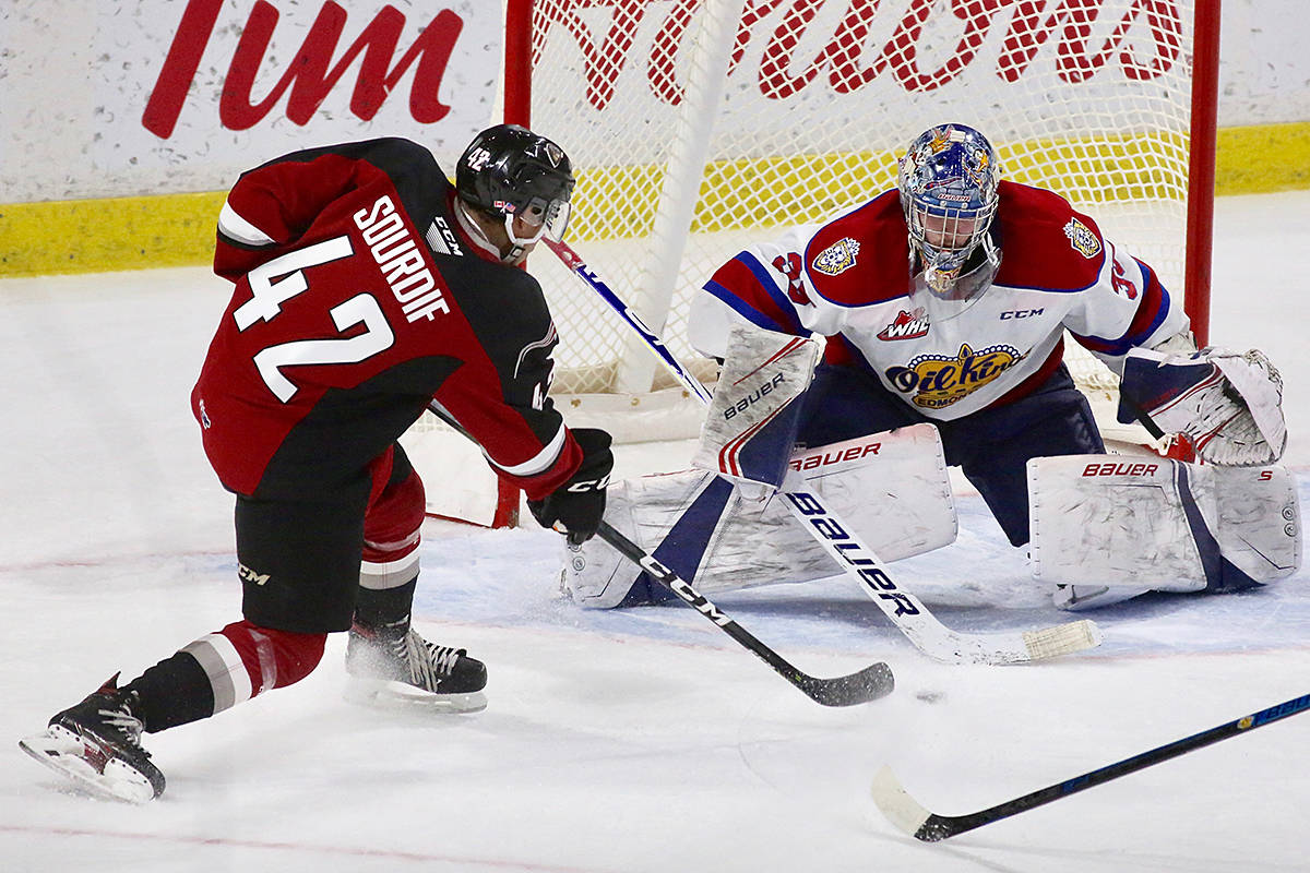 Justin Sourdif earned the Vancouver Giants the crucial second point as they knocked off the visiting Edmonton Oil Kings 5-4 in home ice action at the Langley Events Centre. (Rik Fedyck/Vancouver Giants)