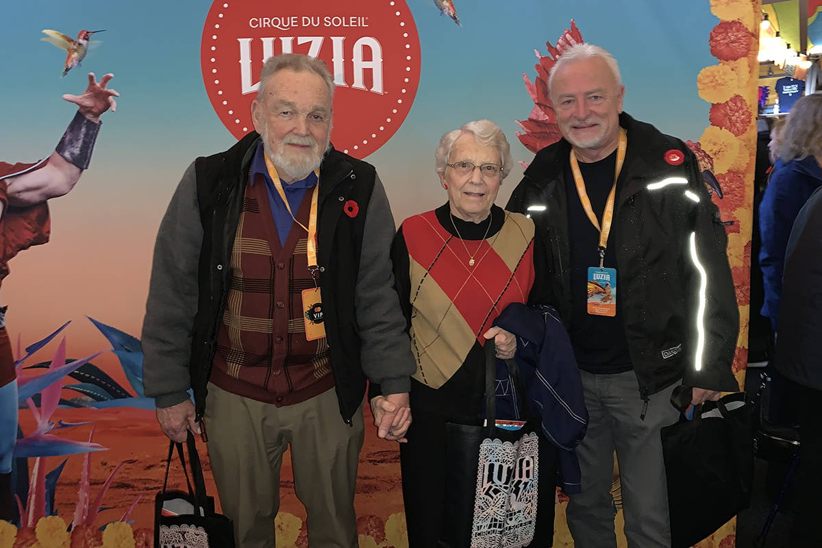 Fred Roots (left), Marie Crellin, Glenn Bell went to a showing of Luzia, the latest Cirque du Soleil showing in Vancouver as part of Harrison Pointe's bucket list campaign. (Christie Hansen/Special to the Langley Advance Times)