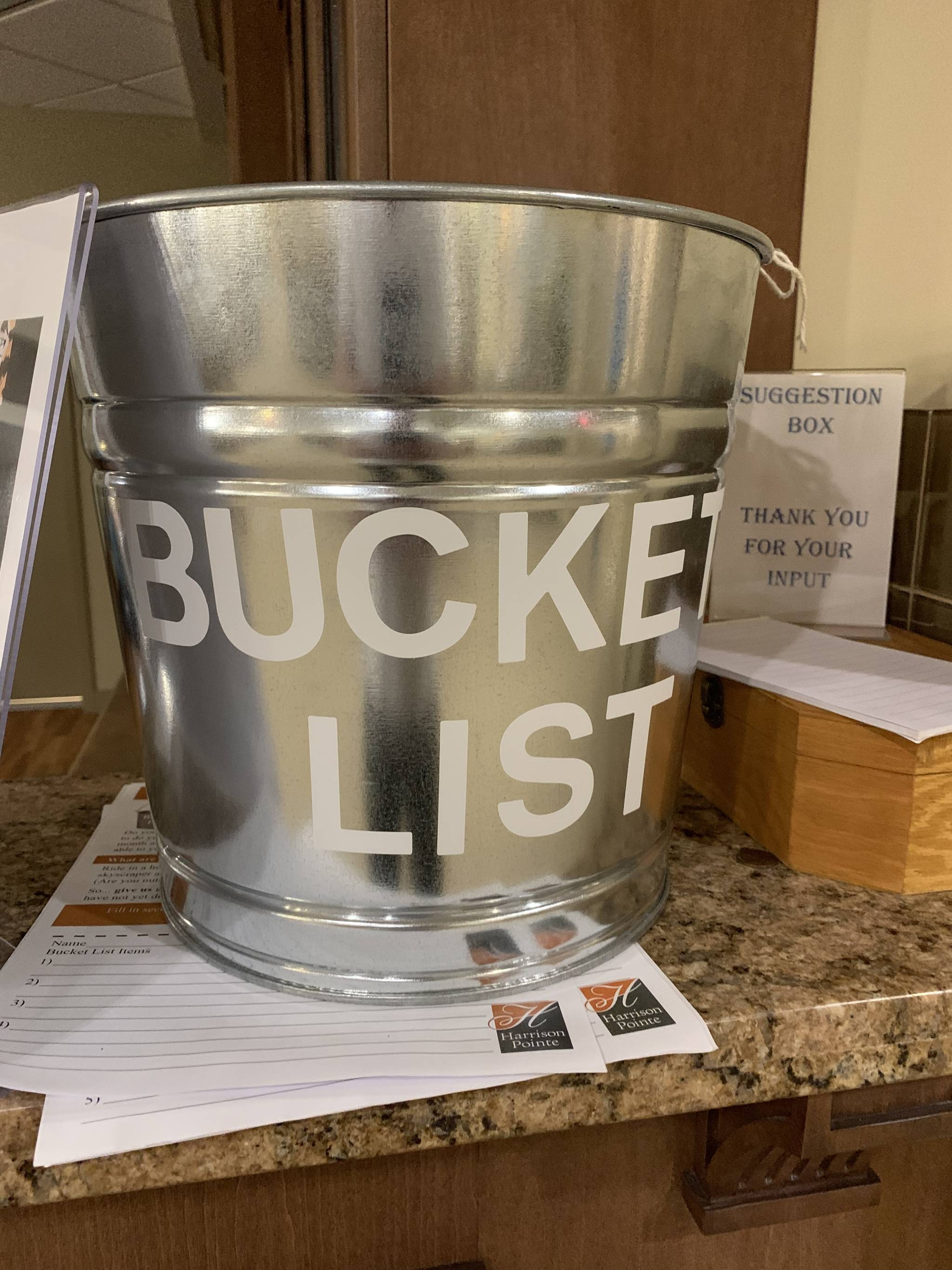 Owner of Harrison Pointe, Glenn Bell, purchased a giant silver bucket from Amazon and asked residents to submit their bucket list wish. Bell pays out of pocket for residents to complete their bucket list wish. (Glenn Bell/Special to the Langley Advance Times)