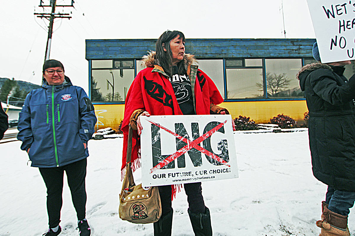 An anti-pipeline protest was held in Prince Rupert on Jan. 8, coorindated with protests happening across the country in support of the Wet'suwet'en First Nation people opposing the Coastal GasLink pipeline. (Matthew Allen / The Northern View)