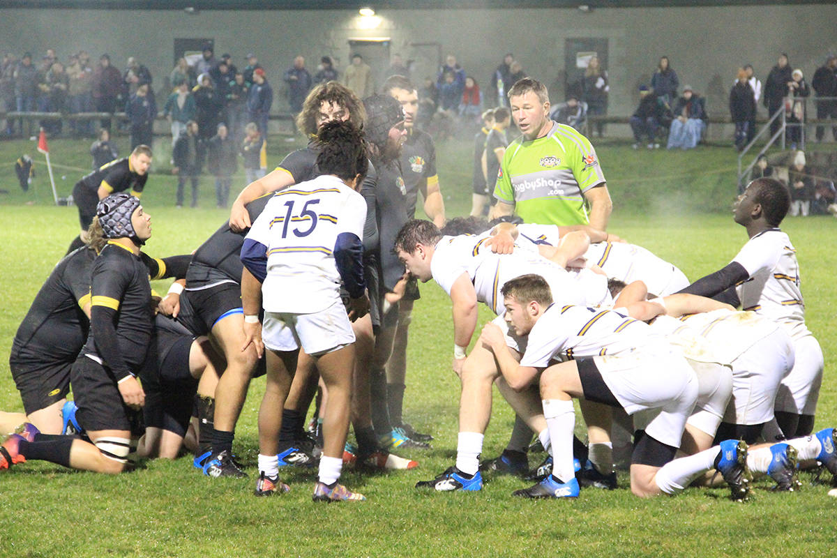 The Beavers and the Spartans ready for a scrum Nov. 22. (Photo: Malin Jordan)