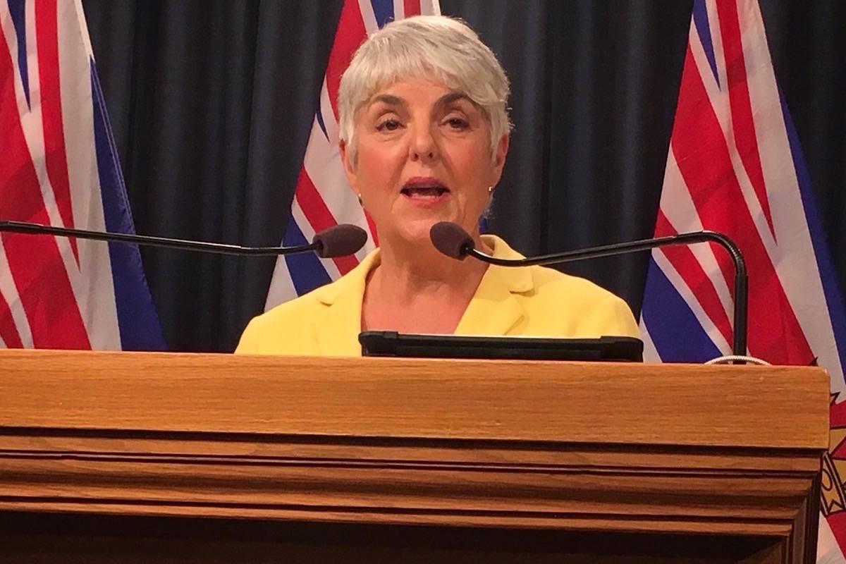 Finance Minister Carole James at the B.C. legislature, Nov. 26, 2019. (Tom Fletcher/Black Press)