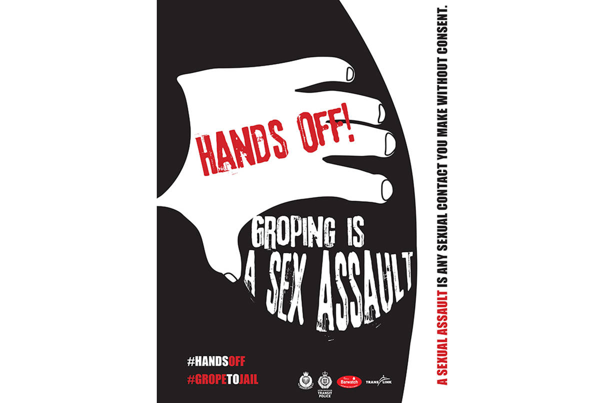 Hands Off! campaign launched in Vancouver on Nov. 26, 2019 by Vancouver Police, Barwatch and Metro Vancouver Transit Police. (Police handout)