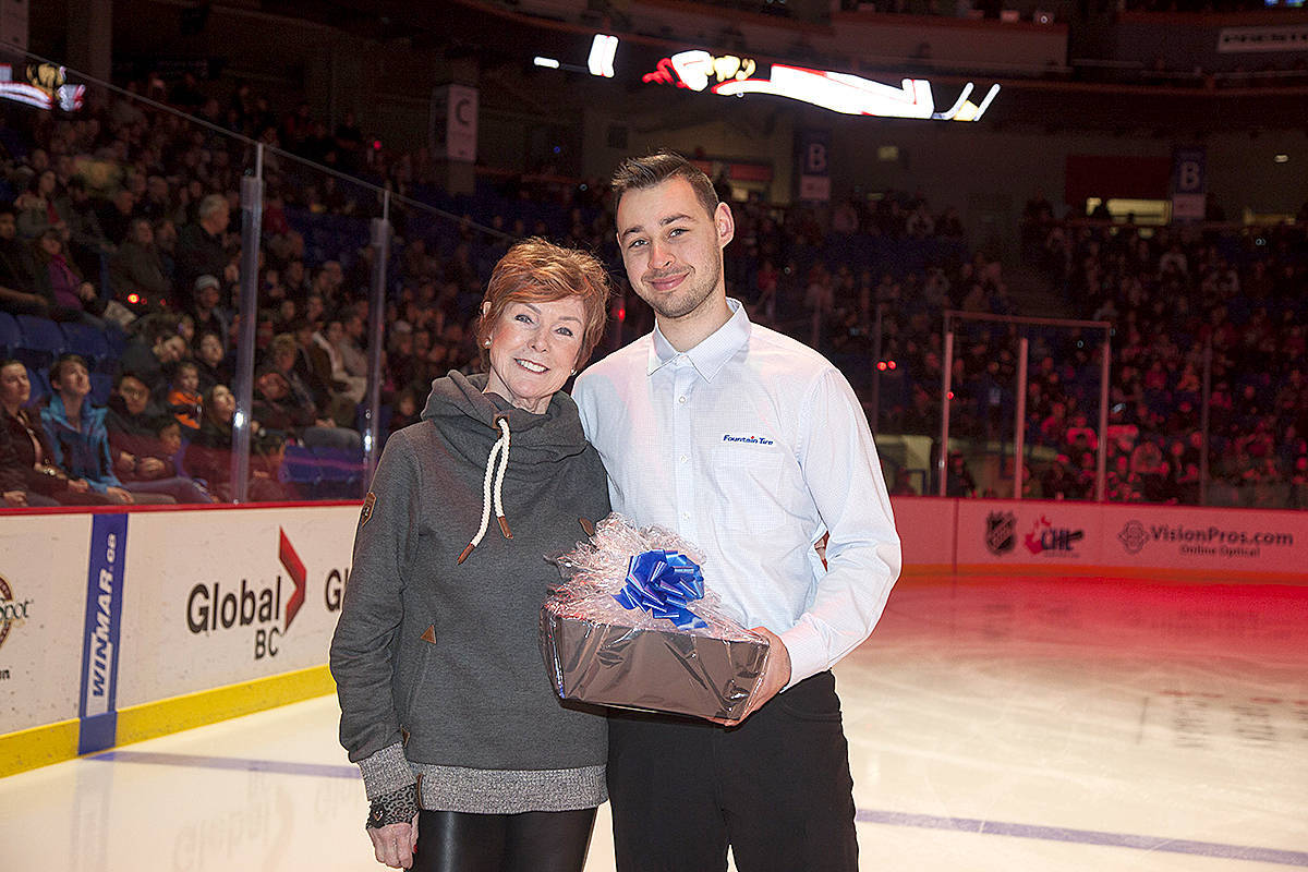 """Langley's Sylvia Lloyd was given special recognition as a community """"star"""" during a Vancouver Giants game last year. (file)"""
