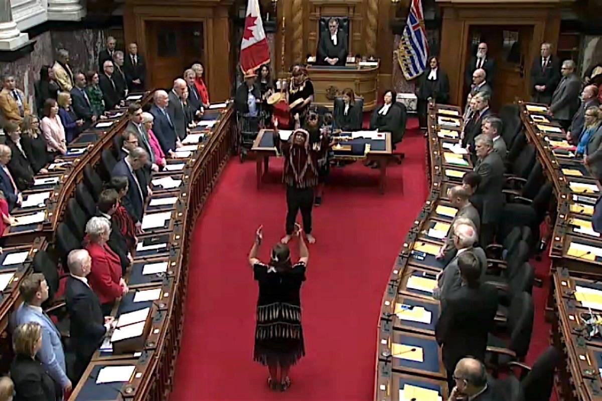 Lekwungen dancers perform in the B.C. legislature before introduction of historic Indigenous rights legislation, Oct. 24, 2019. (Hansard TV)