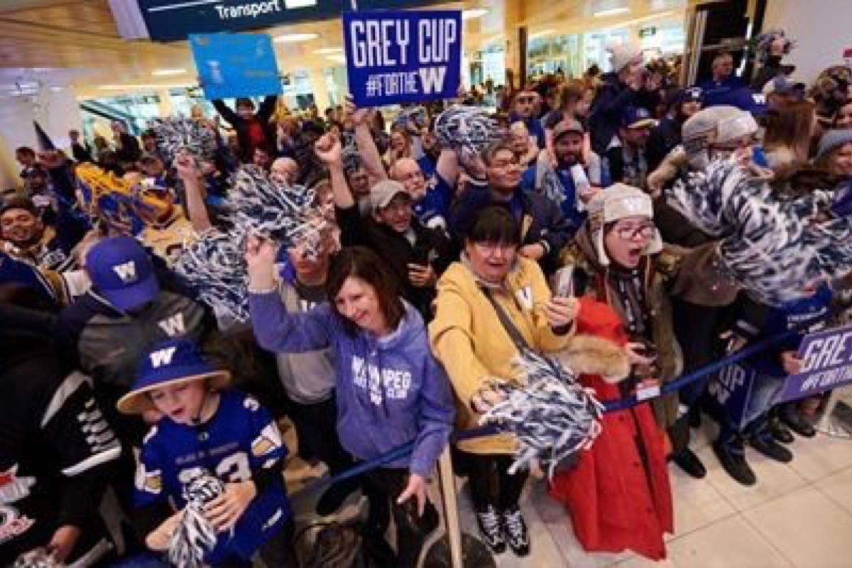 Winnipeg will be hosting a parade on Nov. 26, 2019 to celebrate the Winnipeg Blue Bombers' Grey Cup win. (Photo by THE CANADIAN PRESS)