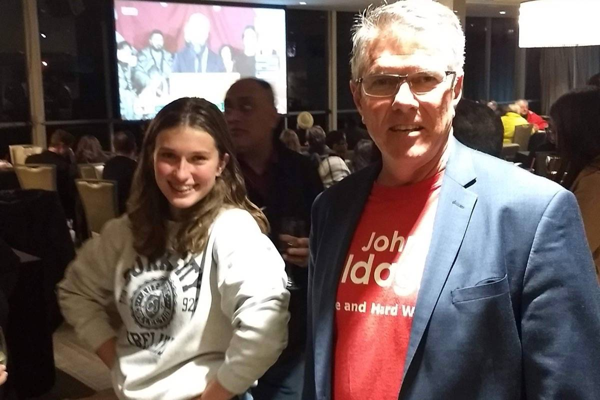 John Aldag watched the election night results come in with friends, family, volunteers, and supporters at his volunteer appreciation event at Elements Casino. (Black Press Media files)