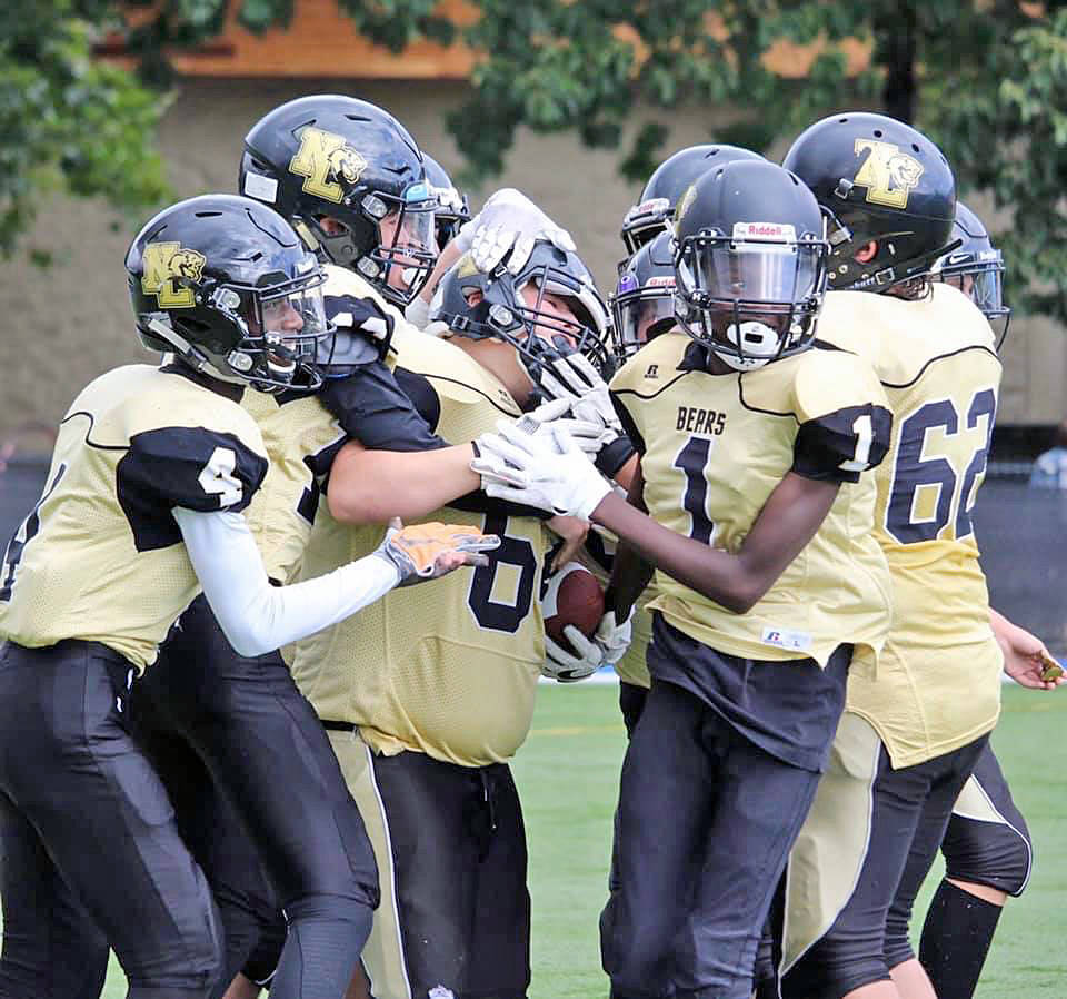 Langley Bears players celebrate one of many wins during the run-up to the British Columbia Community Football Association (BCCFA) provincial championships this weekend. (North Langley Football/Special to Langley Advance Times)