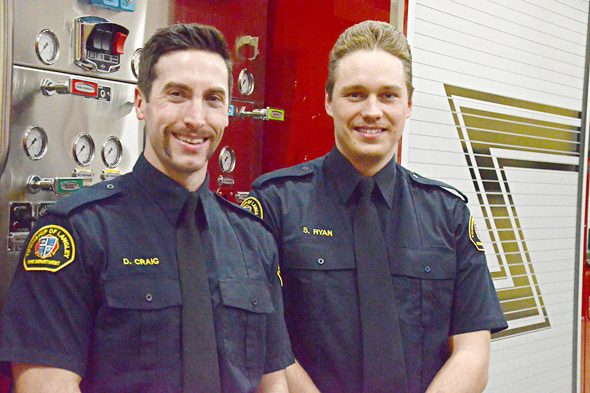 Daniel Craig (left) and Stephen Ryan are two of the Langley Township firefighters who are participating in Movember this year. (Matthew Claxton/Langley Advance Times)