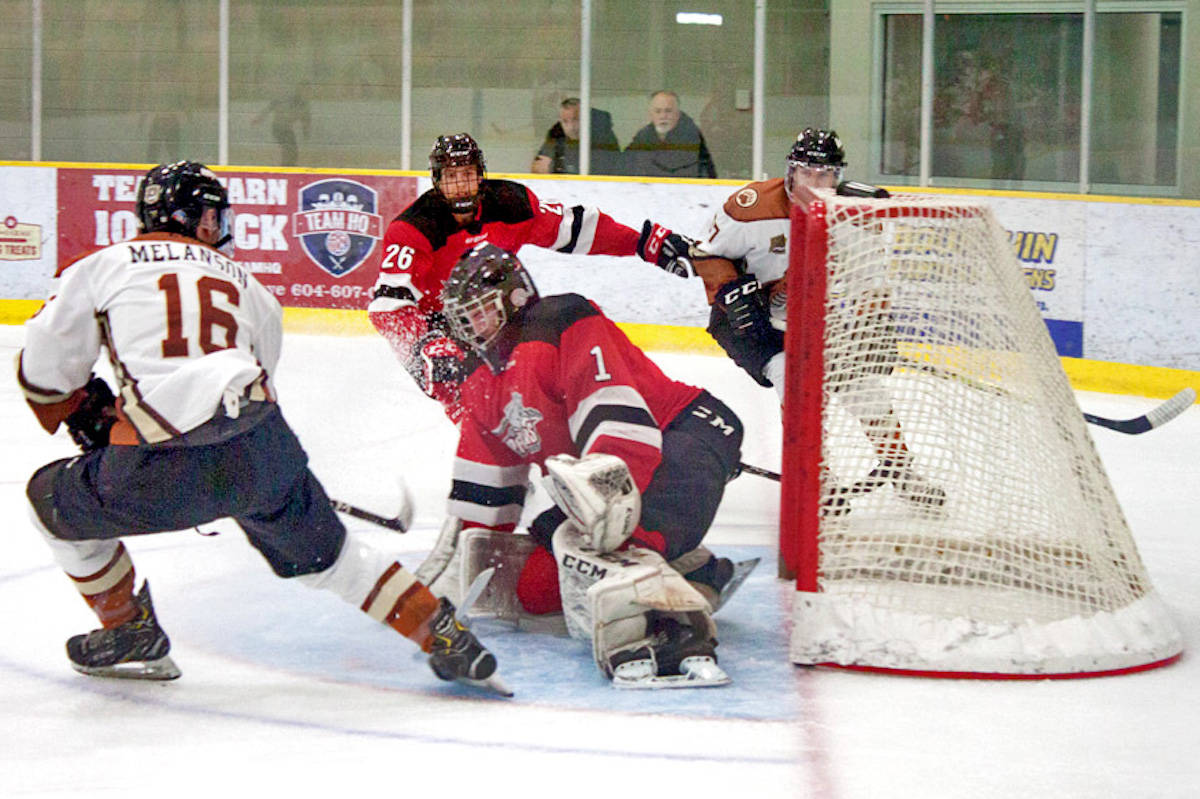 Aldergrove Kodiaks forward Mathieu Melanson slings a shot on net against the Port Moody Panthers in Aldergrove, where the team won by a landslide victory of 5-3 on Nov. 20. (Kurt Langmann/Special to the Aldergrove Star)