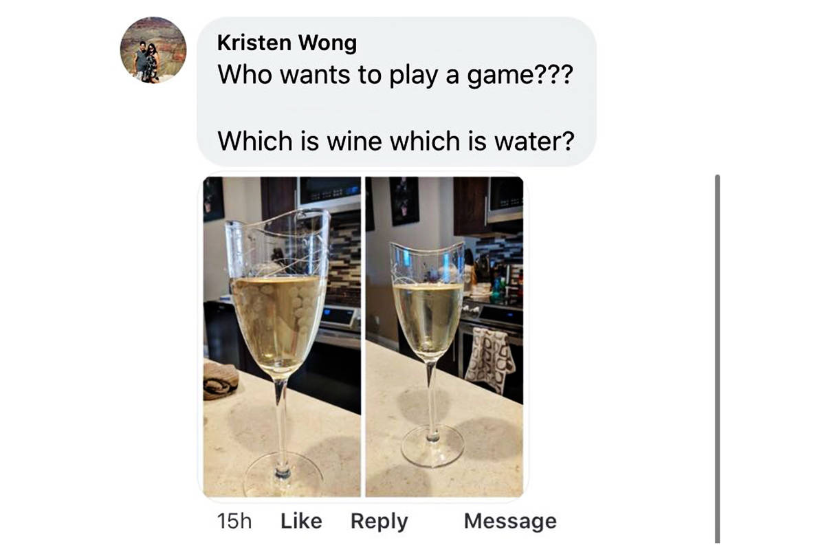 A local resident has posted a photo of her tap water and a photo of a glass of white wine to spotlight the water issue. (Special to the Langley Advance Times)
