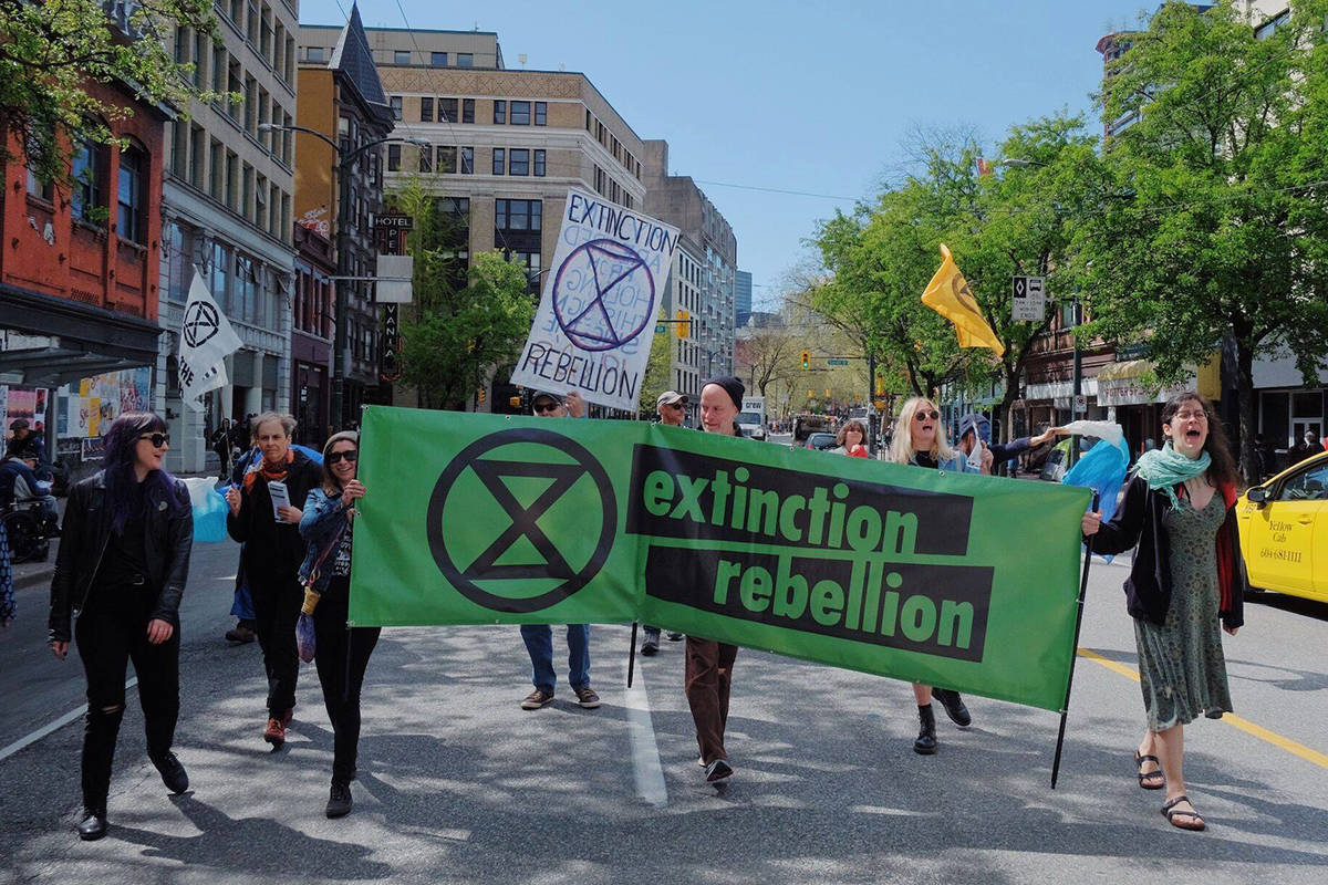 "Extinction Rebellion, shown here at a past protest, will be holding a ""funeral procession"" in Vancouver on Friday, Nov. 29, 2019. (Extinction Rebellion/Facebook)"