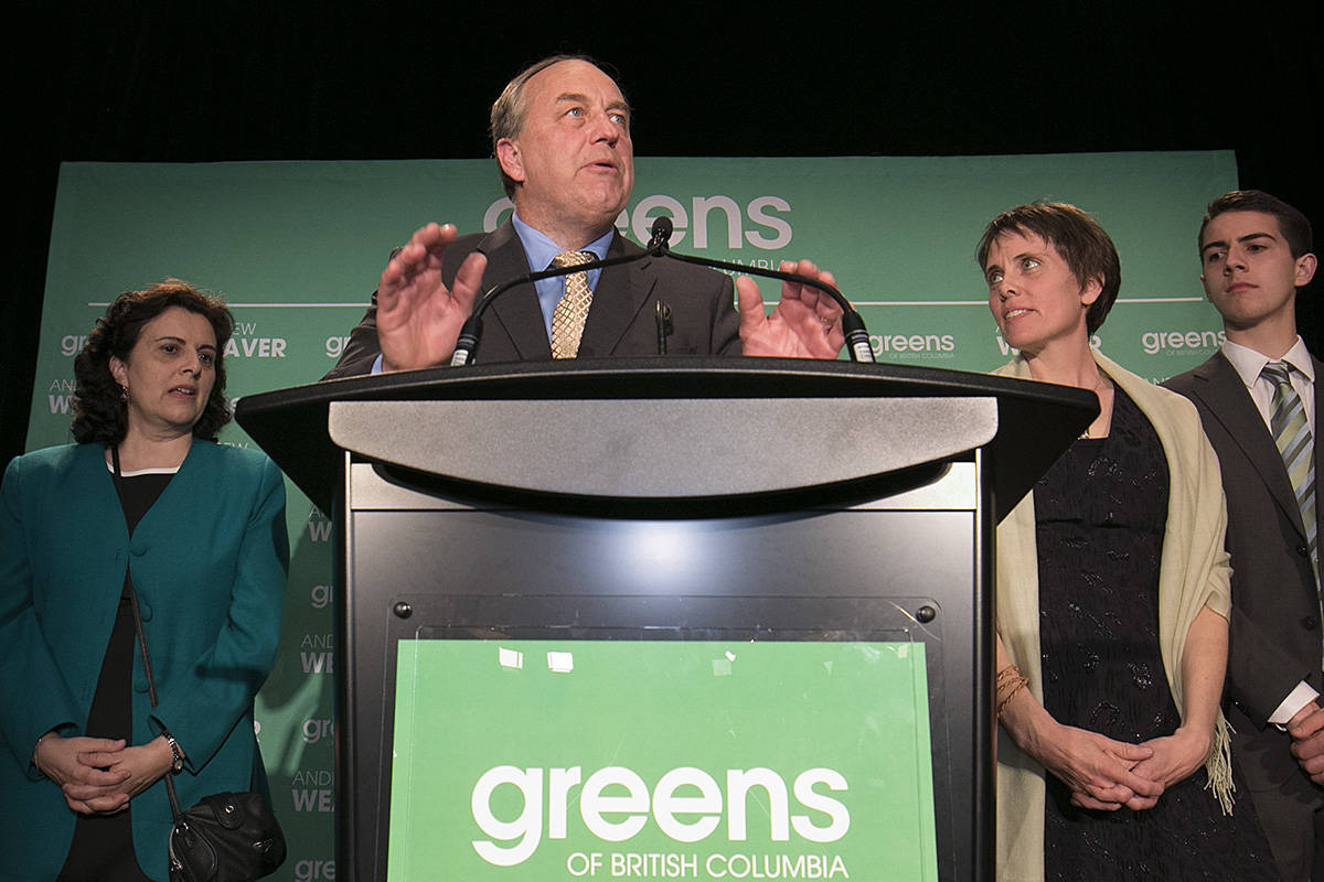 Andrew Weaver speaks to his supporters at the B.C. Green Party Headquarters at the Delta Ocean Pointe Resort. (Arnold Lim/News staff) VICTORIA, B.C. May 9, 2017.