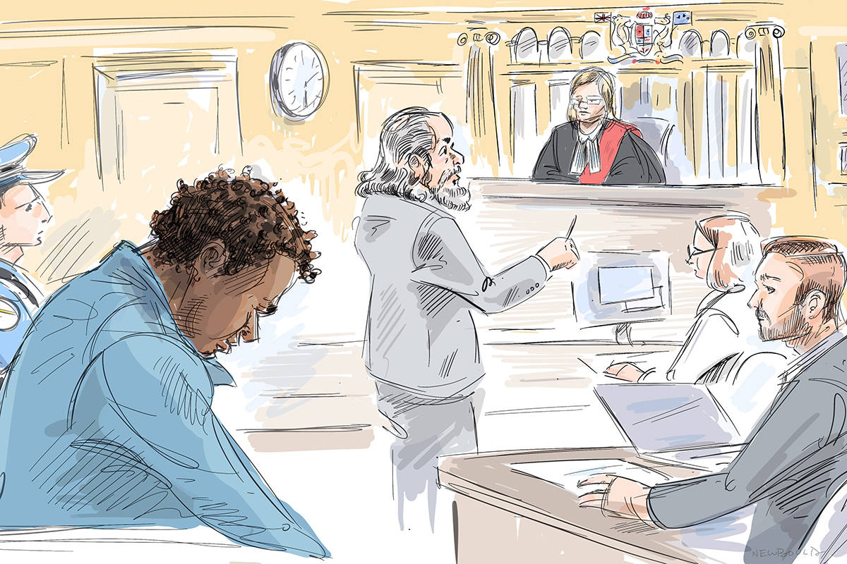 Samuel Opoku, left, his lawyer Jordan Weisz, Justice Cathy Mochain and Crown councel Michael Lockner are seen during an appearance in a courtroom sketch in Toronto, Wednesday, Nov. 27, 2019. Opoku is charged with five counts of assault with a weapon and five counts of mischief. THE CANADIAN PRESS/Alexandra Newbould