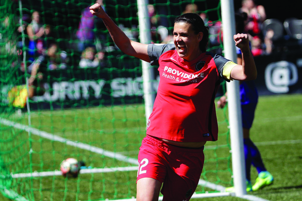 Portland Thorns forward Christine Sinclair celebrates scoring a goal during the second half of their NWSL soccer match against the Orlando Pride in Portland, Ore. File photo by THE ASSOCIATED PRESS
