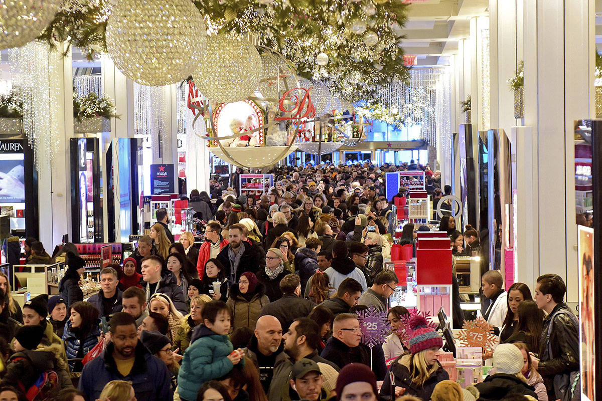 Macy's Herald Square opens its doors at 5 p.m. on Thanksgiving Day for thousands of Black Friday shoppers in search of amazing sales and doorbuster deals, Thursday, Nov. 28, 2019 in New York. (Diane Bondareff/AP Images for Macy's)