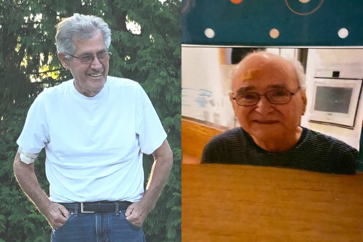 "From left: Tjeerd ""Ted"" Vanderveen, 72, has been missing in Maple Ridge since Thursday, Nov. 28, 2019 at 10:45 a.m. and Seaton Faria, 87, has been missing in Vancouver since the same day at 11:30 p.m. Police in both jurisdictions are asking anyone who sees either man to call 911. (Police handouts)"