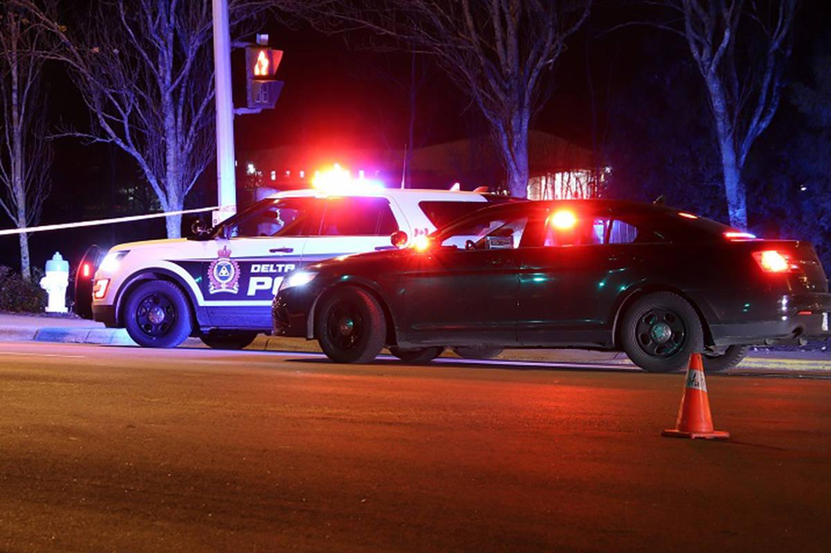 Delta Police on scene at a fatal pedestrian crash in Ladner on Thursday, Nov. 28. (Photo: Shane Mackichan)