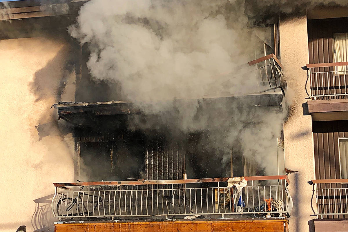 A fire hit the Villa Fontana apartments in Langley City on Friday morning. (Heather Colpitts/Langley Advance Times)