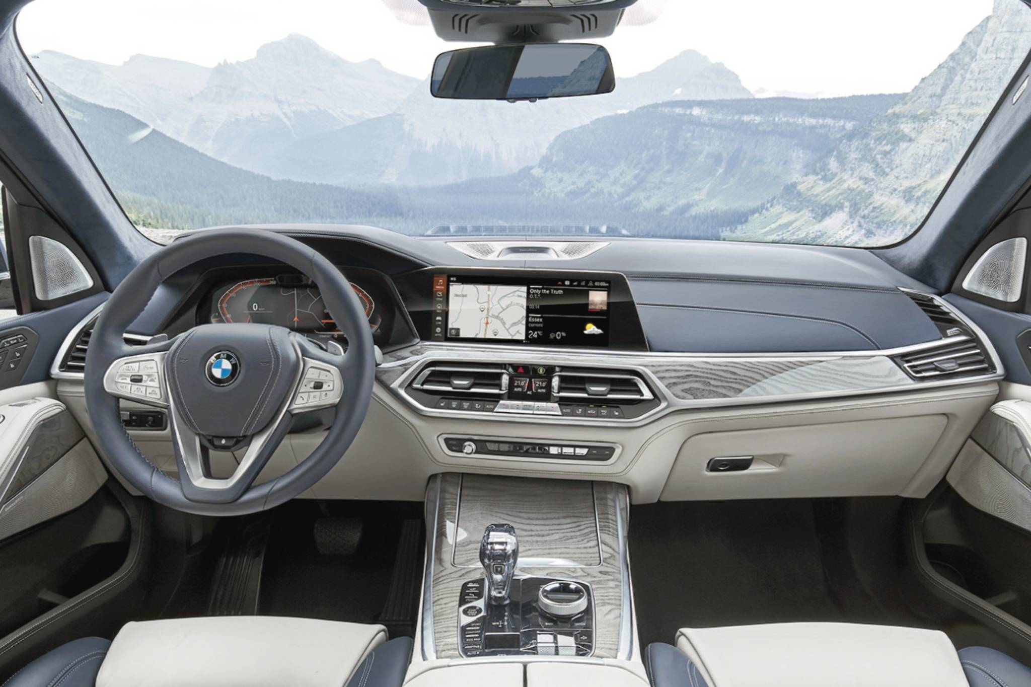 The X7's interior is about as luxurious as it gets. Note the minimal button clutter, the digital gauge cluster and the elegant arrangement of the controls and shifter in the centre console. Photo: BMW