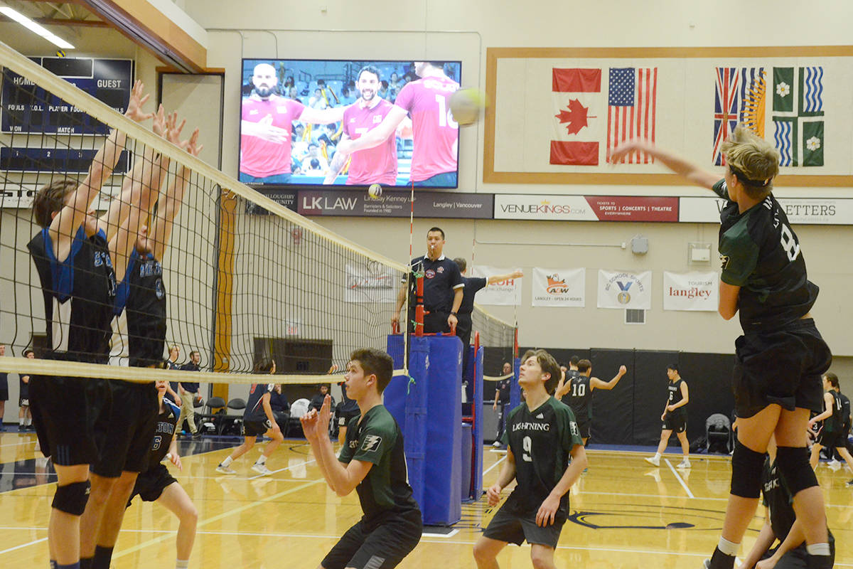Langley Christian went up against W.L. Seaton on Thursday, the first day of the provincial high school volleyball championships. (Matthew Claxton/Langley Advance Times)
