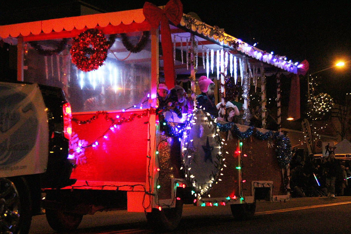 A float rolls through Cloverdale Dec. 1, 2019 for the 14th annual Surrey Santa Parade of Lights. (Photos: Olivia Johnson)