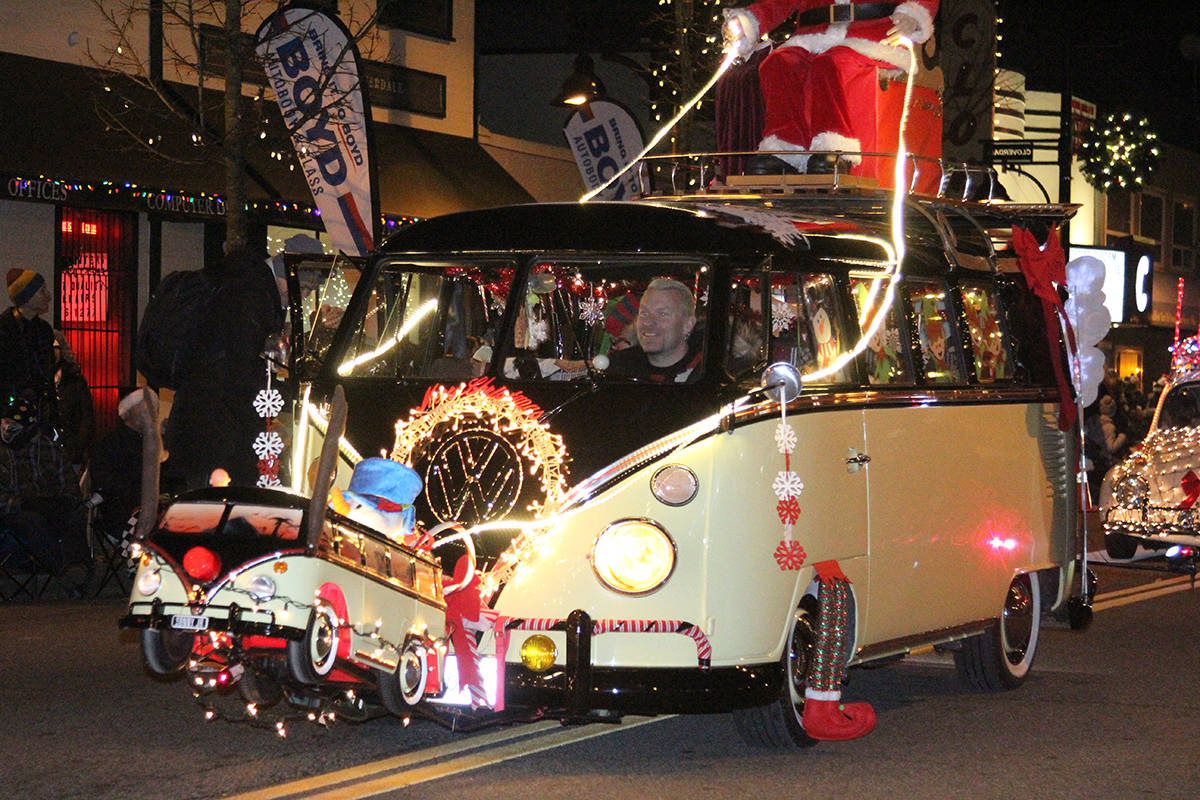 Vehicles roll through Cloverdale Dec. 1, 2019 for the 14th annual Surrey Santa Parade of Lights. (Photos: Olivia Johnson)