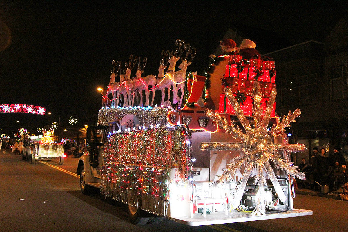 Trucks roll through Cloverdale Dec. 1, 2019 for the 14th annual Surrey Santa Parade of Lights. (Photos: Olivia Johnson)