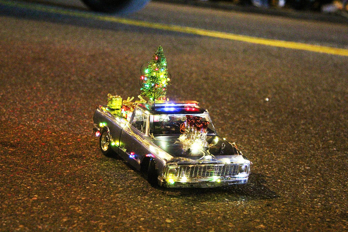 A miniature float rolls through Cloverdale Dec. 1, 2019 for the 14th annual Surrey Santa Parade of Lights. (Photos: Olivia Johnson)