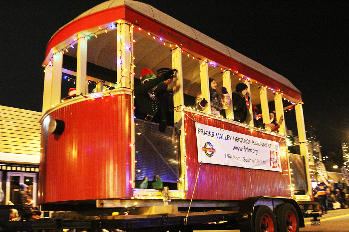The Fraser Valley Heritage Railway Society float rolls through Cloverdale Dec. 1, 2019 for the 14th annual Surrey Santa Parade of Lights. (Photos: Olivia Johnson)