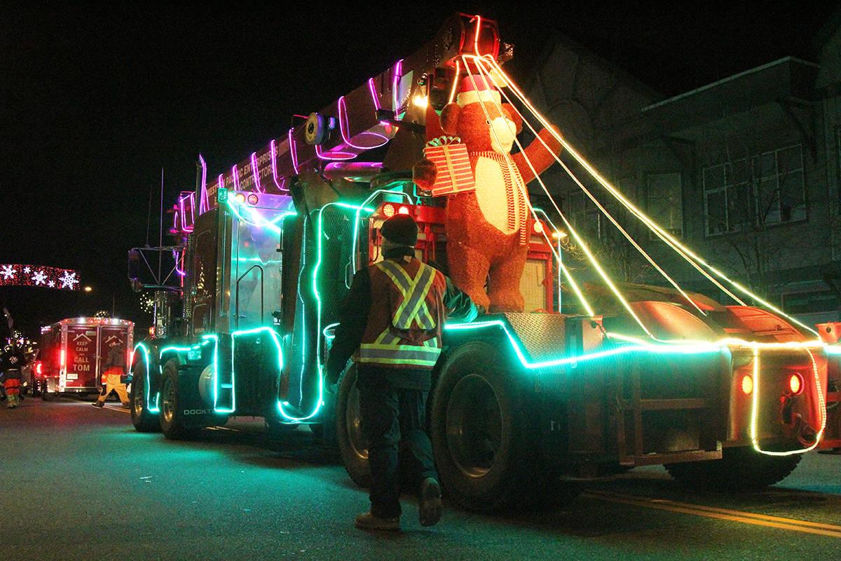 A float rolls through Cloverdale Dec. 1, 2019 for the 14th annual Surrey Santa Parade of Lights. (Photos: Olivia Johnson)
