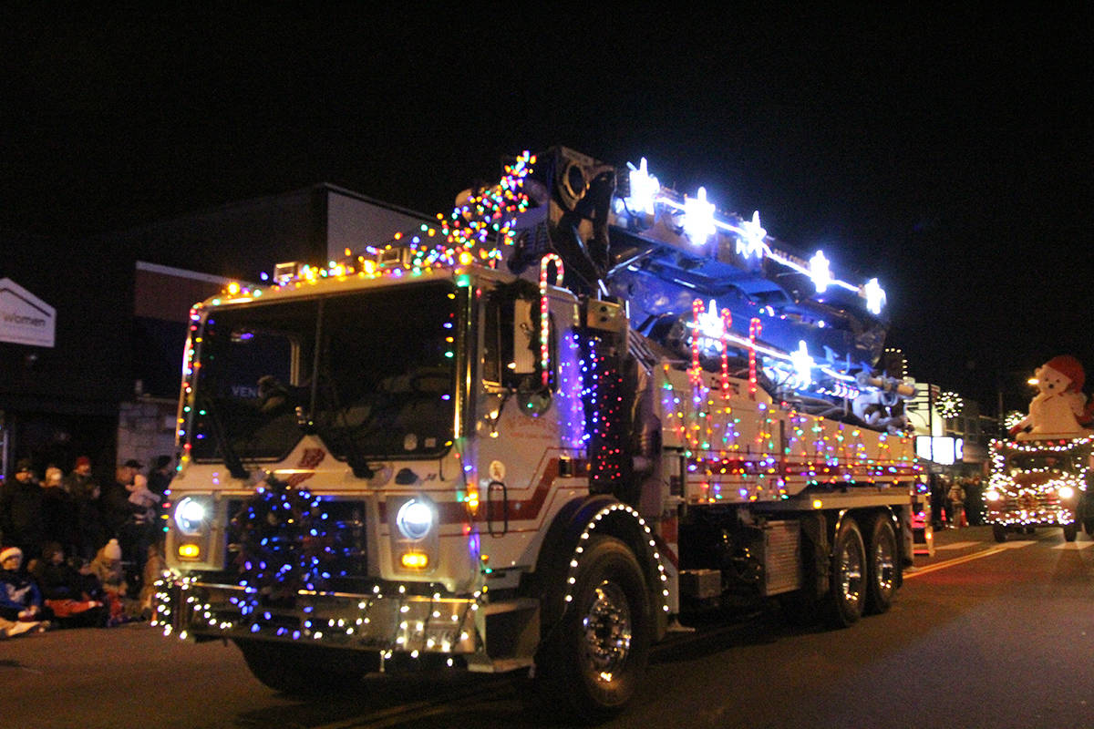 A truck rolls through Cloverdale Dec. 1, 2019 for the 14th annual Surrey Santa Parade of Lights. (Photos: Olivia Johnson)